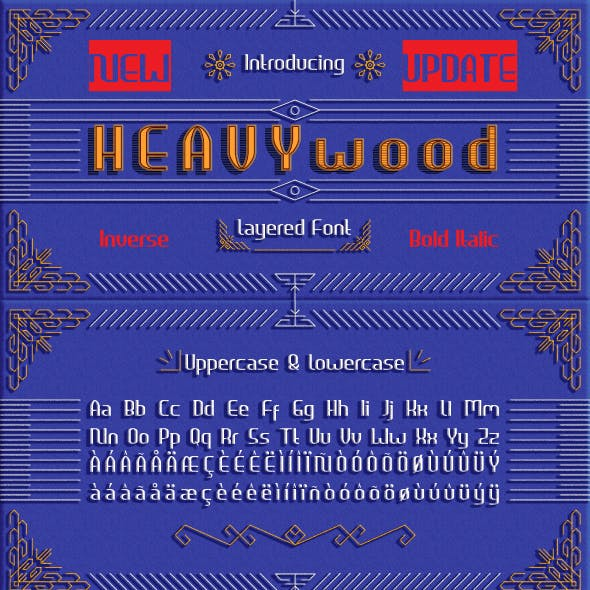 Heavywood Layered Display Font