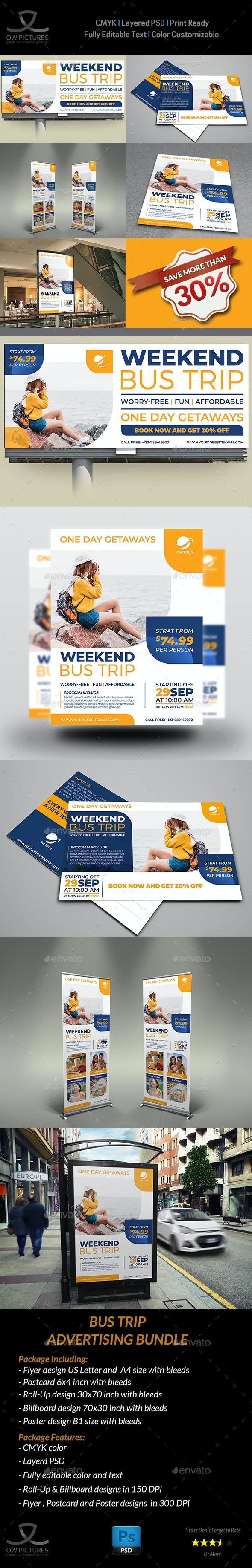 Bus Trip Advertising Bundle Template - Signage Print Templates