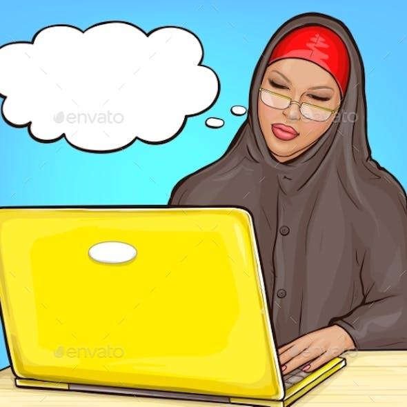 Arabic Woman in Hijab with Laptop