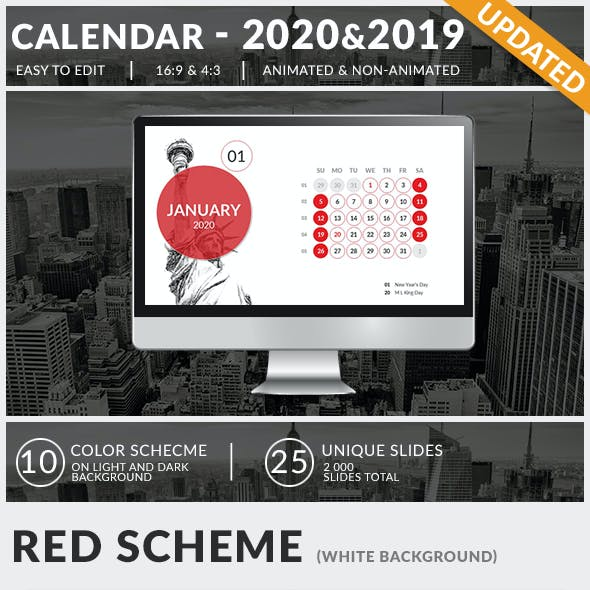 Calendar 2020 and 2019 PowerPoint Presentation Template