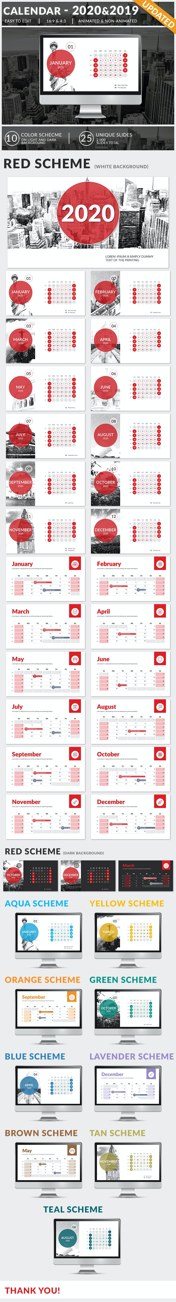 Calendar 2020 and 2019 PowerPoint Presentation Template - Business PowerPoint Templates
