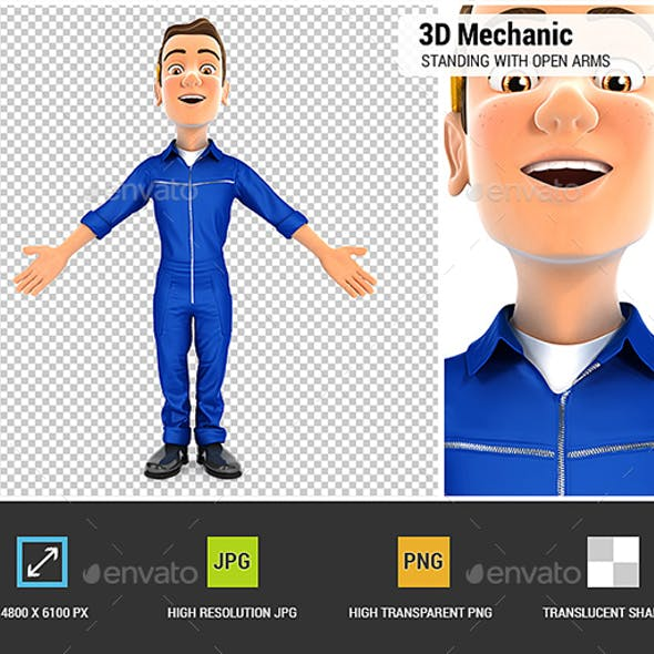 3D Mechanic Standing with Open Arms