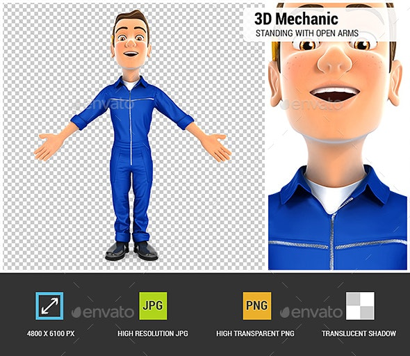 3D Mechanic Standing with Open Arms - Architecture 3D Renders