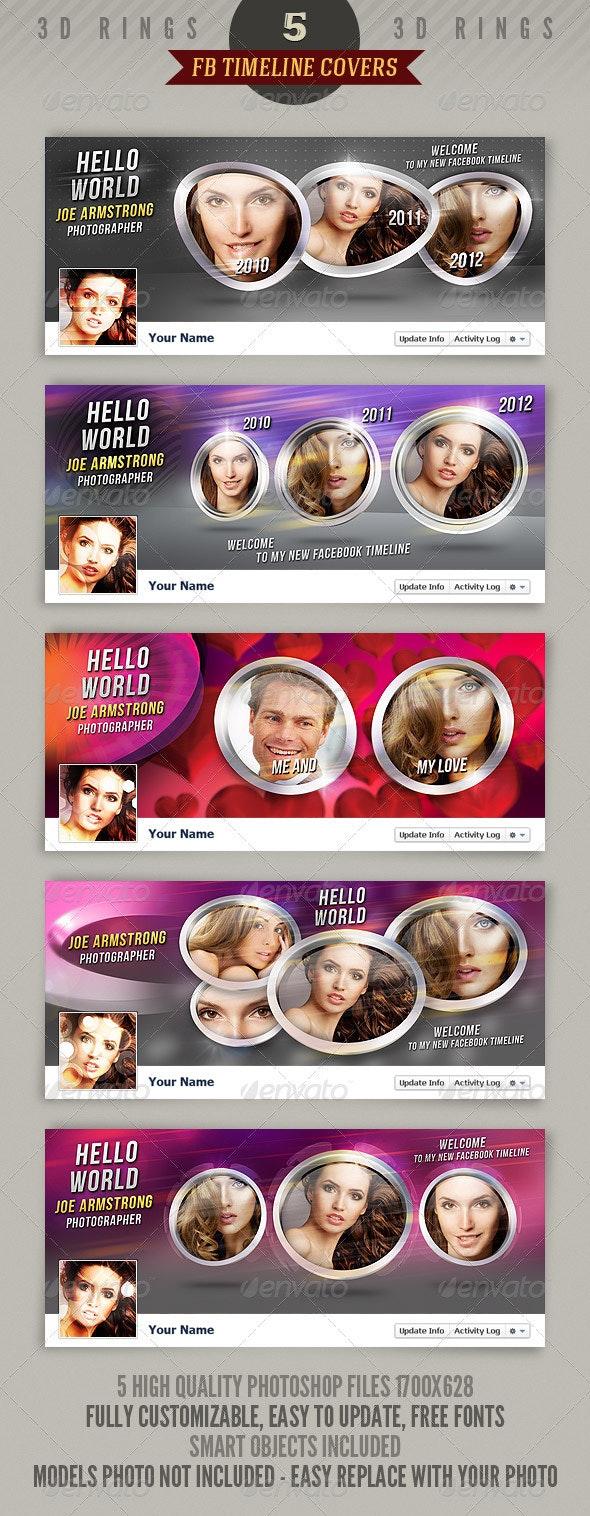 5 Facebook Timeline Covers - 3D Rings - Facebook Timeline Covers Social Media