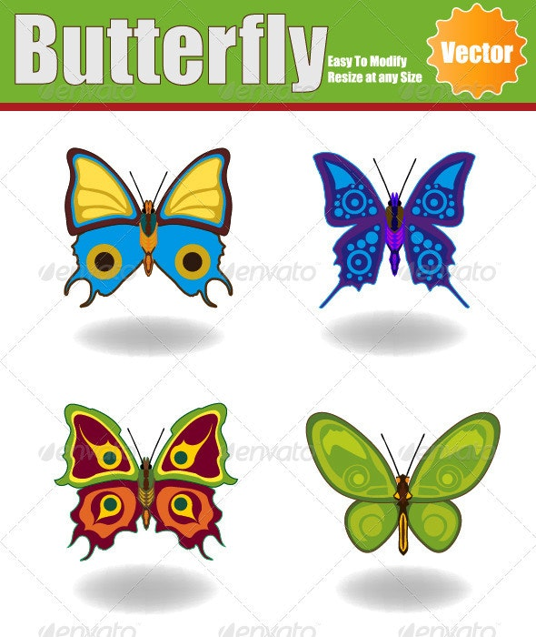 Vector Butterfly Set - Animals Characters