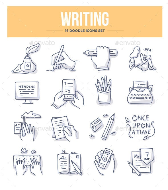 Writing Doodle Icons - Miscellaneous Icons