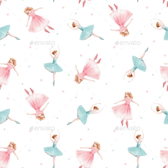 Watercolor Vector Seamless Pattern with Cute - Miscellaneous Illustrations