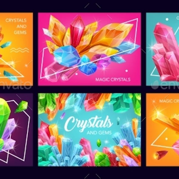 Crystals and Gemstones with Geometric Shapes
