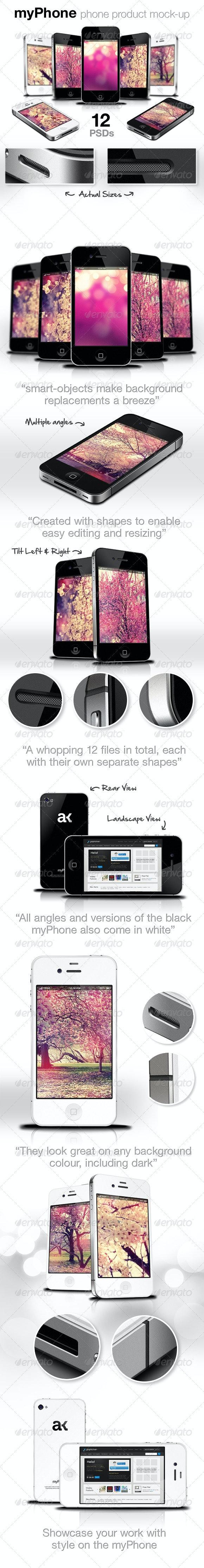 myPhone: Web/App Showcase Phone Mockup - Mobile Displays