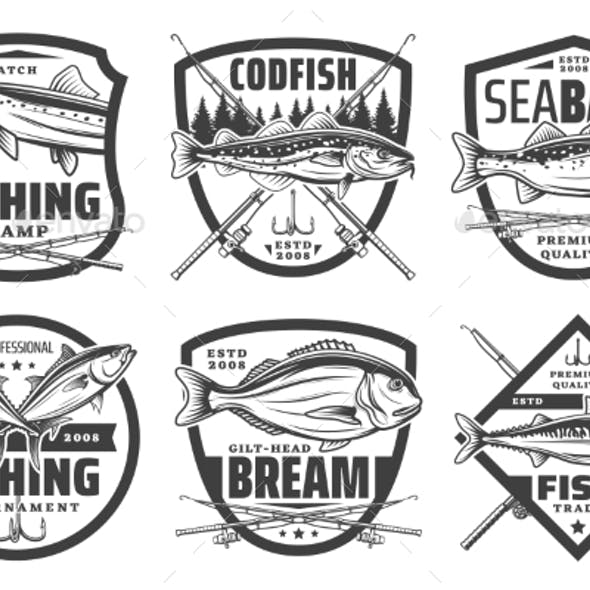 Fishing Sport Icons Fisher Lures and Tackles
