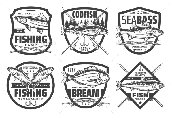 Fishing Sport Icons Fisher Lures and Tackles - Sports/Activity Conceptual
