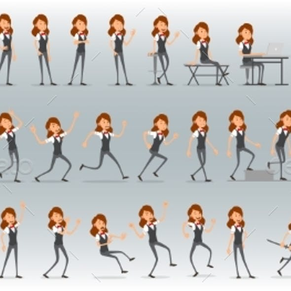 Cartoon Flat Business Girl Character Vector Set