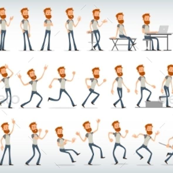 Cartoon Flat Redhead Boy Character Vector Set