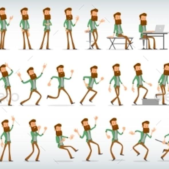 Cartoon Flat Hipster Boy Character Vector Set