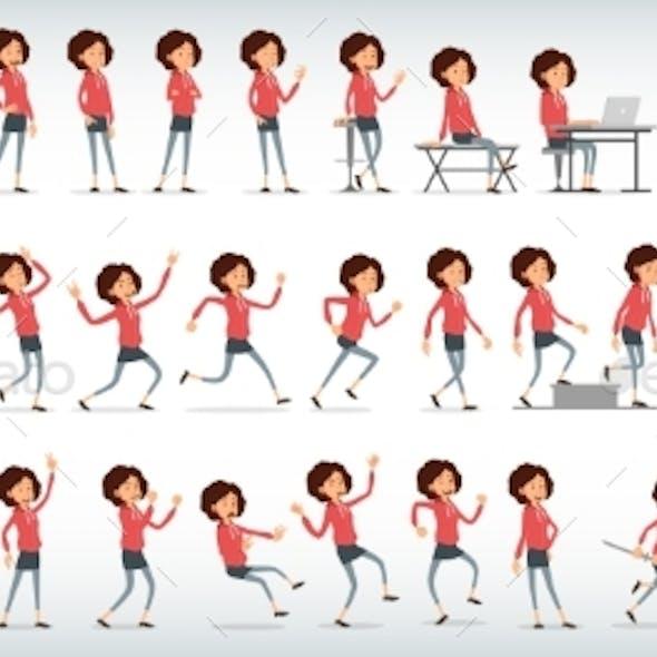 Cartoon Flat Hipster Girl Character Vector Set