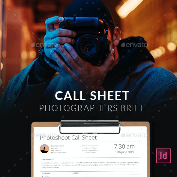 Call Sheet - Photographers Brief