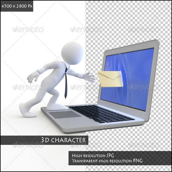Businessman Sending a Email - 3D Renders Graphics