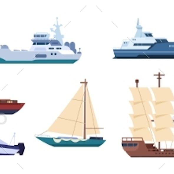 Flat Ships Sailing Yachts and Marine Sailboats