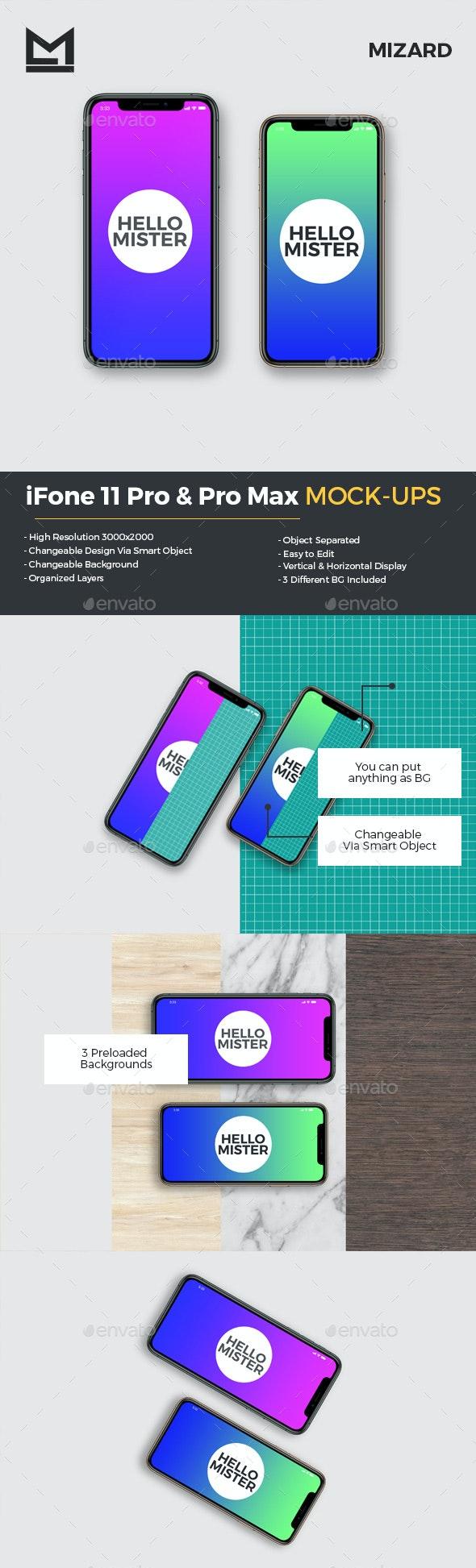 iFone 11 Pro & Pro Max Mockup - Mobile Displays