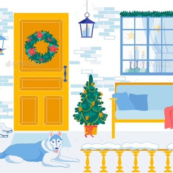 New Year Interior for Decorative Cartoon Design