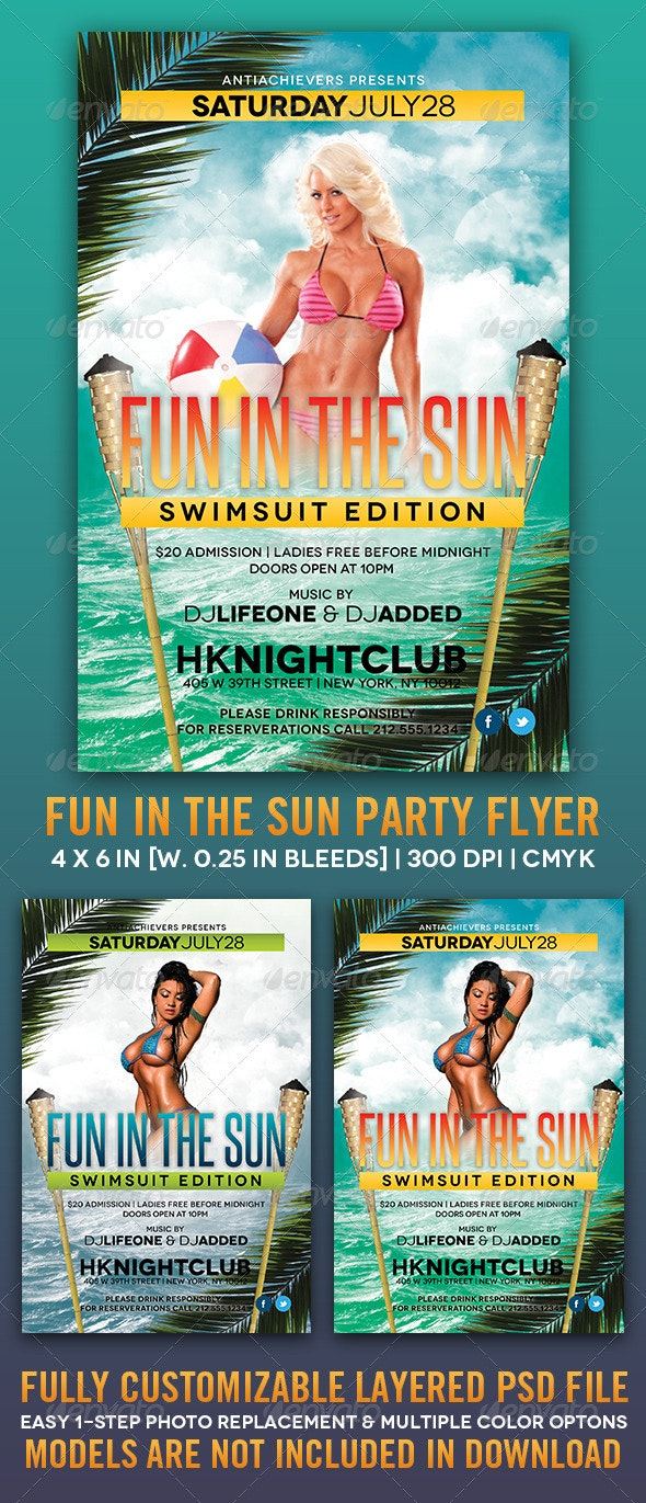 Fun In The Sun Party Flyer - Clubs & Parties Events