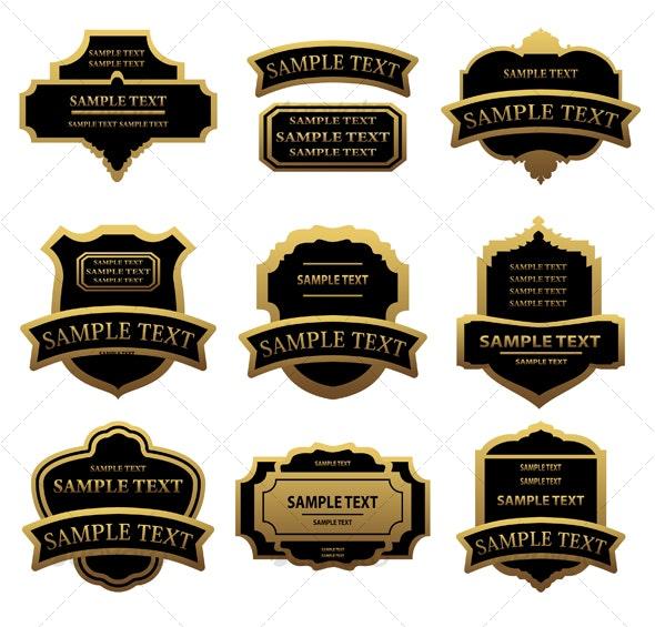 Set of golden labels - Decorative Vectors
