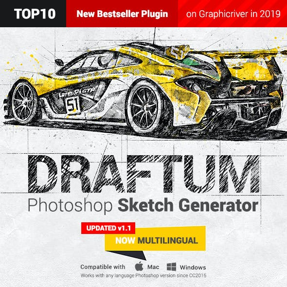 Sketch Generator - Draftum - Photoshop Plugin