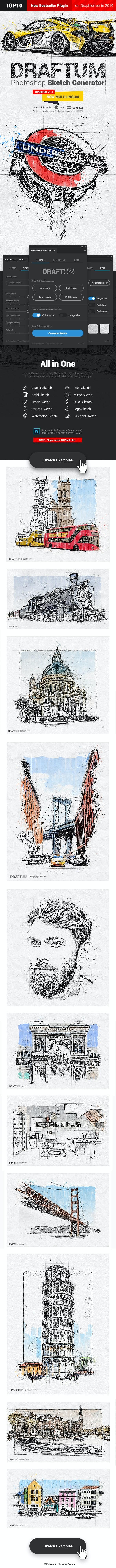 Sketch Generator - Draftum - Photoshop Plugin - Photo Effects Actions