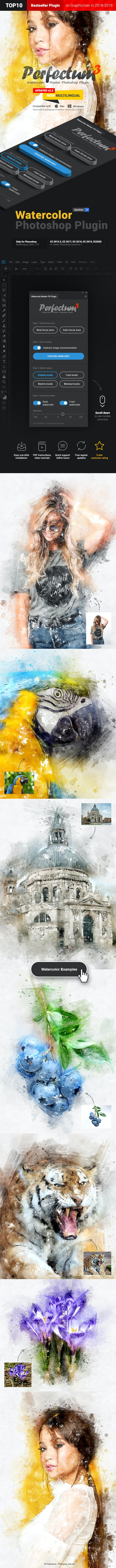 Watercolor Master - Perfectum 3 - Photoshop Plugin - Photo Effects Actions