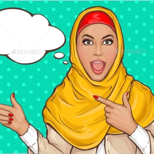 Arabic Woman in Hijab Pointing Fingers