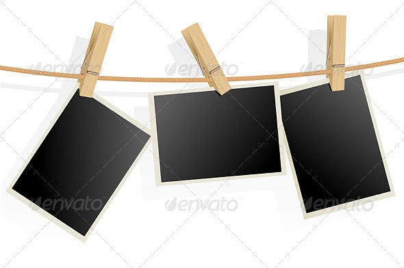 Three Photo Frames on Rope - Man-made Objects Objects