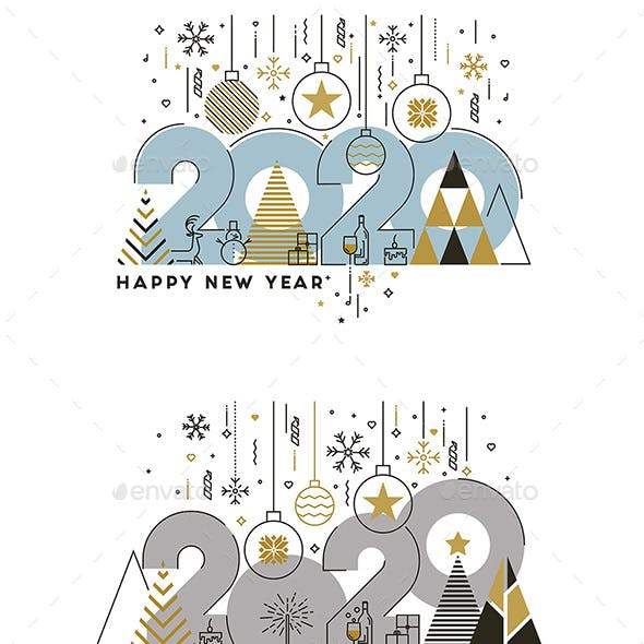 Flat Thin Color Line Concept of Happy New Year
