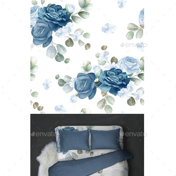Blue Floral and Leaves Seamless Pattern