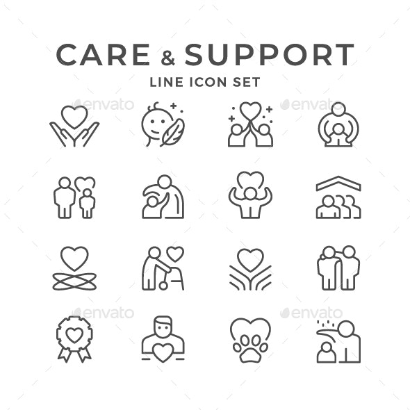 Set Line Icons of Care and Support - Man-made objects Objects