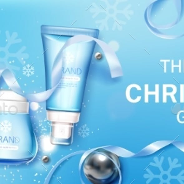 Winter Cosmetic Christmas Gifts Mock Up Banner