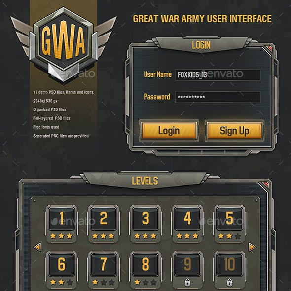 War Game Army Mobile UI