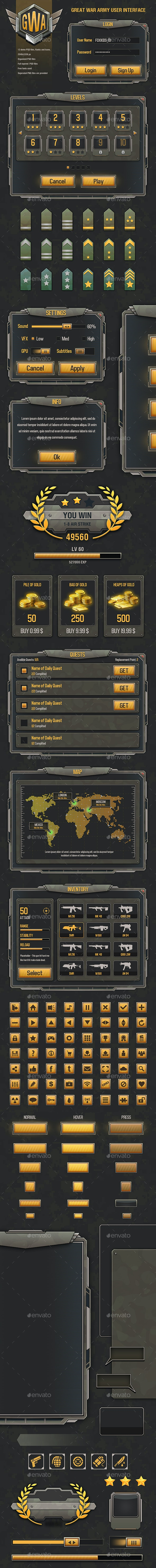 War Game Army Mobile UI - User Interfaces Game Assets