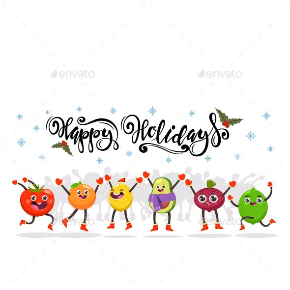 Happy Holidays Vector Christmas Illustration.