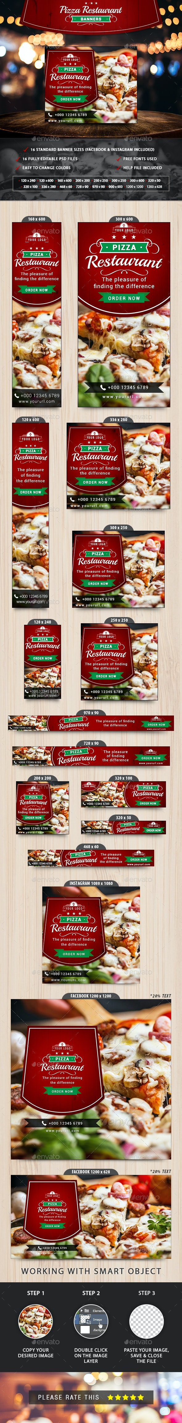 Pizza Restaurant Banners - Banners & Ads Web Elements