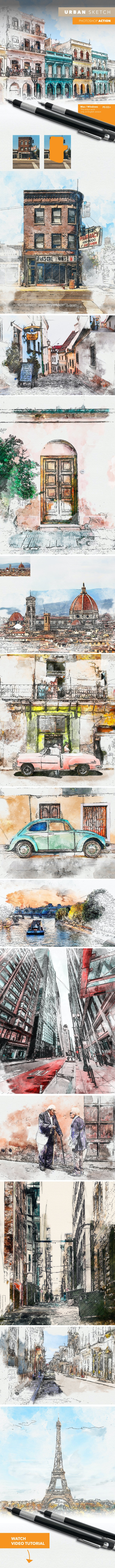 Urban Sketch Photoshop Action - Photo Effects Actions
