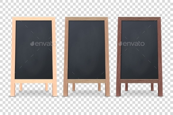 Vector 3d Realistic Blank Wooden Chalk Board - Miscellaneous Vectors
