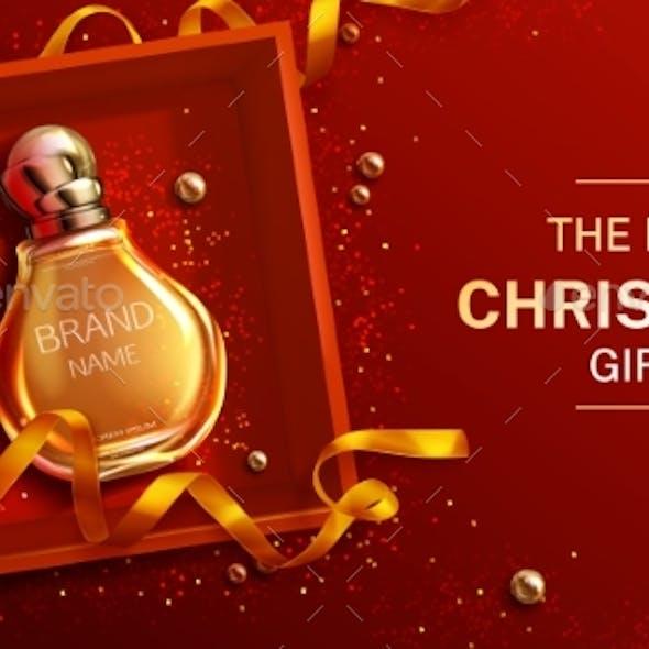 Perfume Bottle Christmas Gift Banner Mock Up