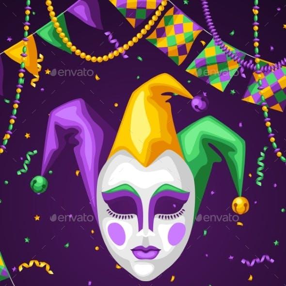 Mardi Gras Party Greeting or Invitation Card