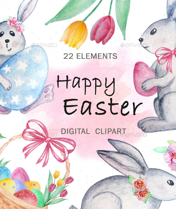 Happy Easter. Watercolor Clipart - Animals Illustrations