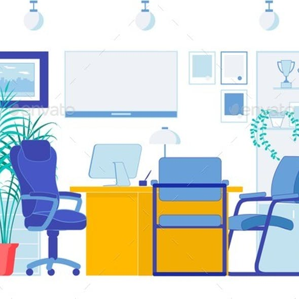 Office Flat Interior in Business Company Center