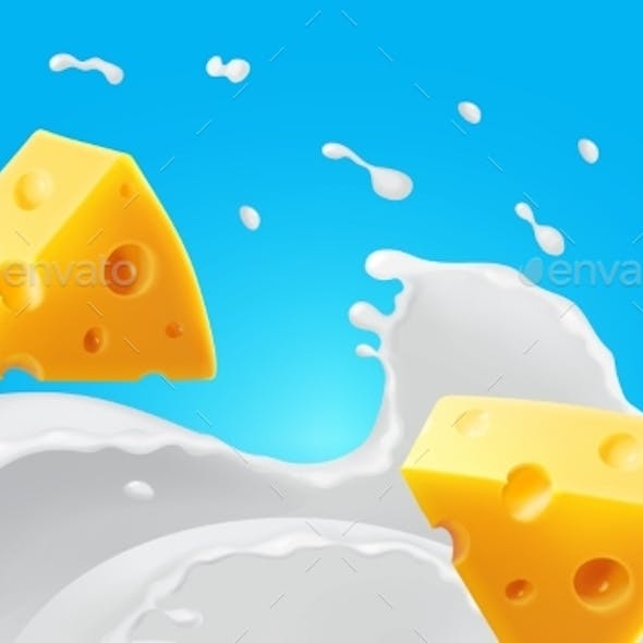 Triangle Pieces of Cheese in Splashing Milk
