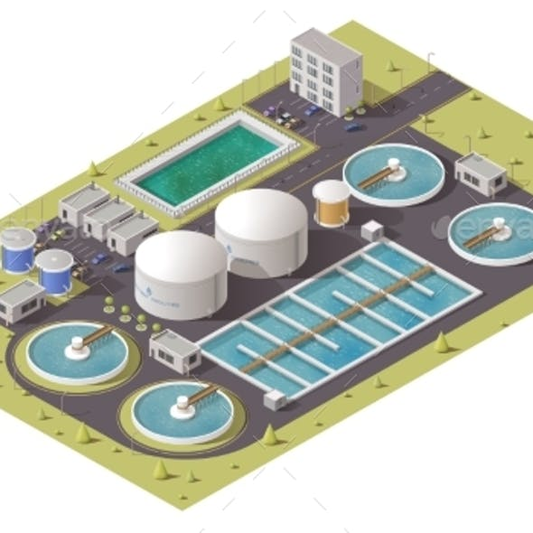 Waste Water Treatment Plant Isometric Icon