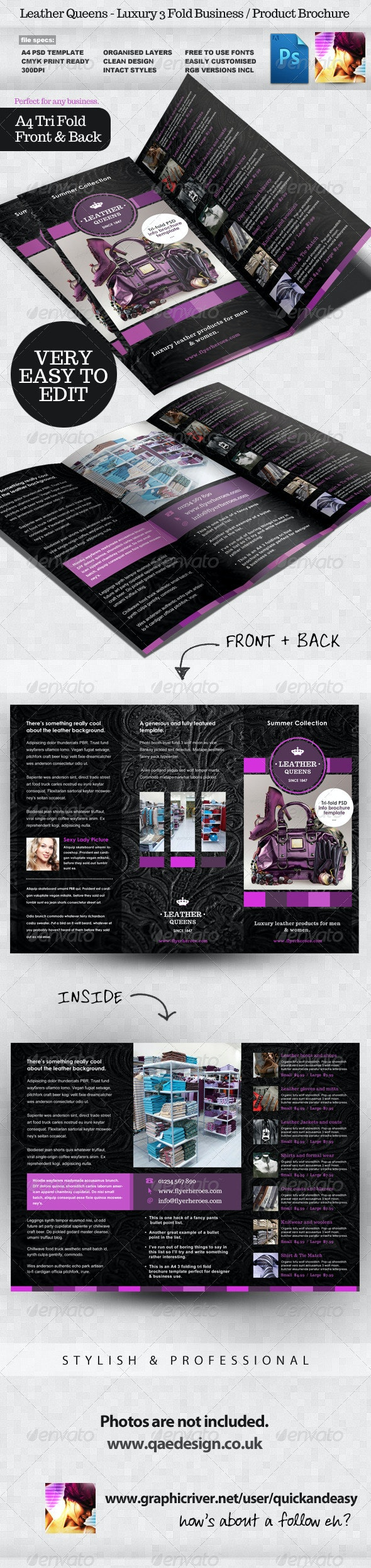 Leather Queens 3 Fold Product Brochure Template - Informational Brochures