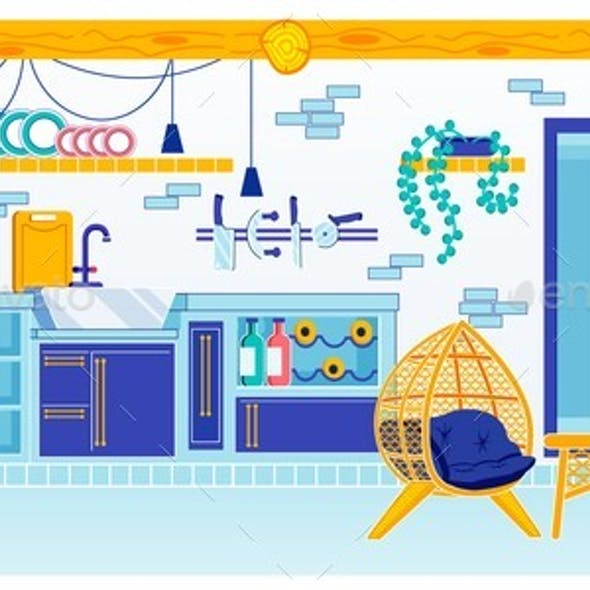 Kitchen Room Design with Furnace in Summer Cottage