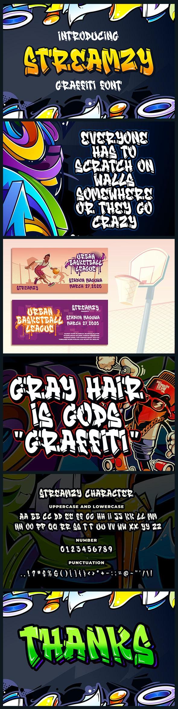 Streamzy - Graffiti Font - Graffiti Fonts